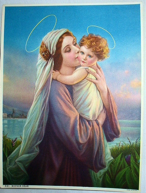 MOTHER DEAR- Lovely Mother Mary and Baby Christ Child Lithog