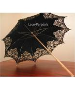 Battenburg Lace Parasol - BLACK! Long Wooden Handle - $45.00