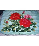 Lovely Embroidered ROSES on Fabric,Pillow Cover,Wall Decor,S - $62.00