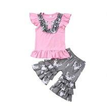 kids girl sleeveless pink tops + deer ruffle pants clothes - $12.02+
