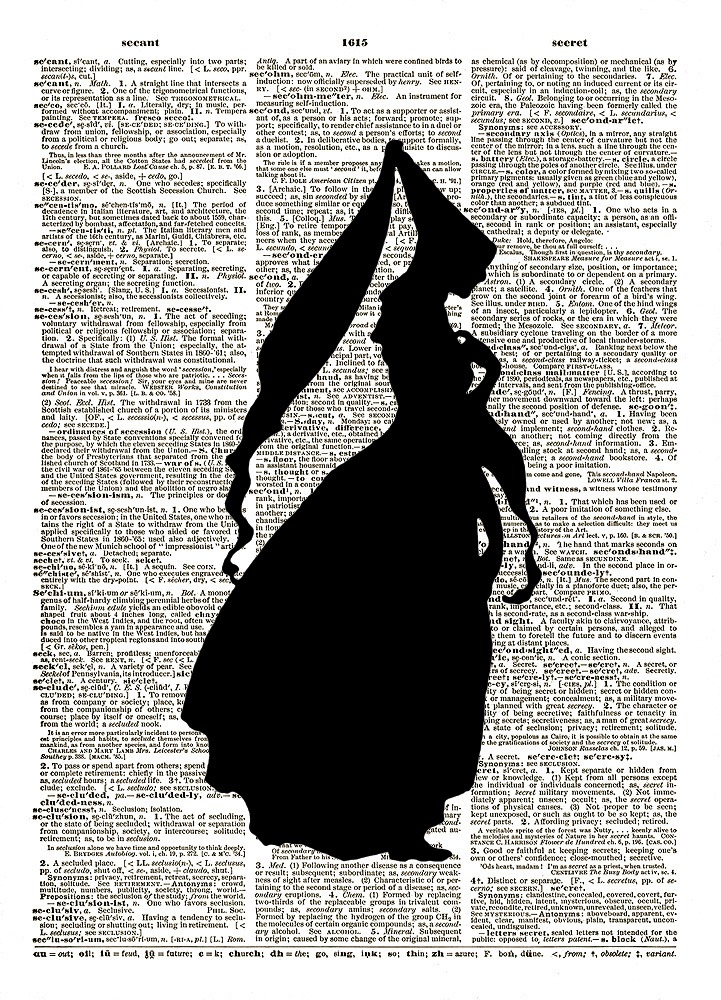 PRINCESS SILHOUETTE Vintage Dictionary Page Art Print No. 0131