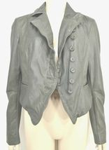MUUBAA lambskin soft leather jacket SZ 8 Moss Army Gray asymmetric buttoned image 7