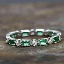 1.05Ct Emerald and Diamond Full Eternity Wedding Band Ring 14k white Gol... - $85.13
