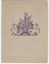 Vintage Easter Card Basket of Flowers 1926 Purple and Silver Design - $6.92