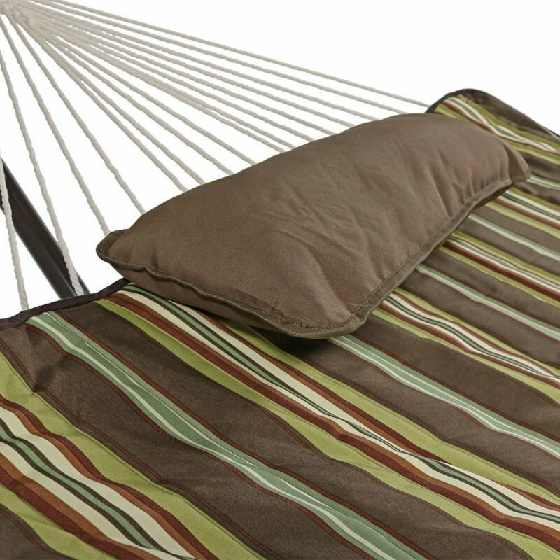 Deluxe Cotton Rope Hammock Durable With 12 Foot Heavy Duty Steel Stand