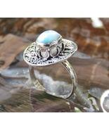 Sterling Silver Ring//Larimar//Bali Ring//Carribean Gemstone//Gemstone R... - $24.00