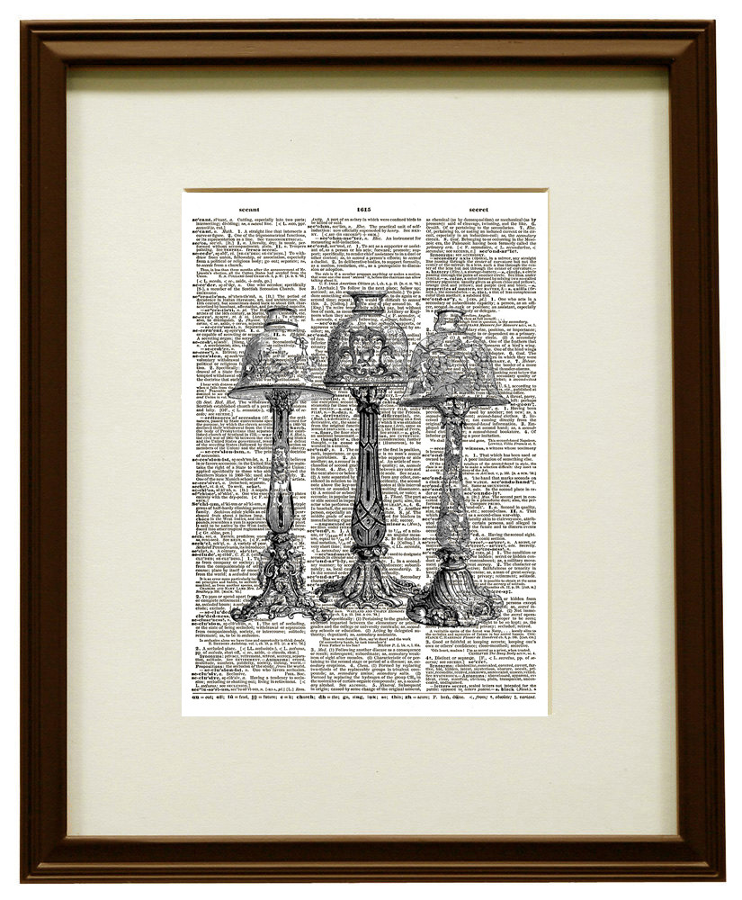 Lovely ANTIQUE OIL LAMPS Vintage Dictionary Page Art Print No. 0134