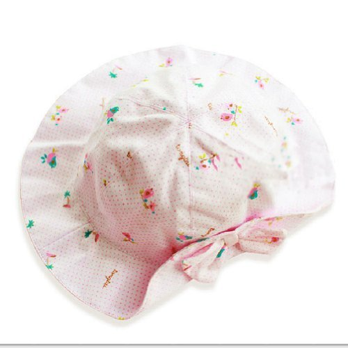 PINK Spots Baby Girl Sun Hat Infant Floppy Hat Toddler Summer Cap 46-50CM