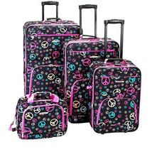 4 Pc Peace Sign Expandable Luggage Set Travel Bag - $148.78