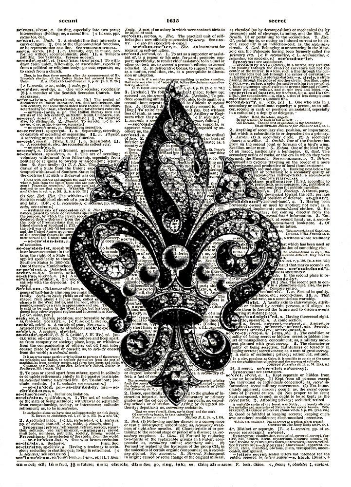 Lovely Jewel-Encrusted FRENCH FLEUR de LIS Vintage Dictionary Art Print No. 0135