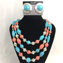 Vintage Lucite Multi Strand Necklace Earrings Set Faux Turquoise Coral T... - $24.70