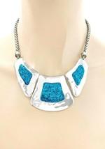 Türkis Blau Glitzernd Statement Freizeit Alltag Gehämmerte Halskette Ohrring Set - $17.50