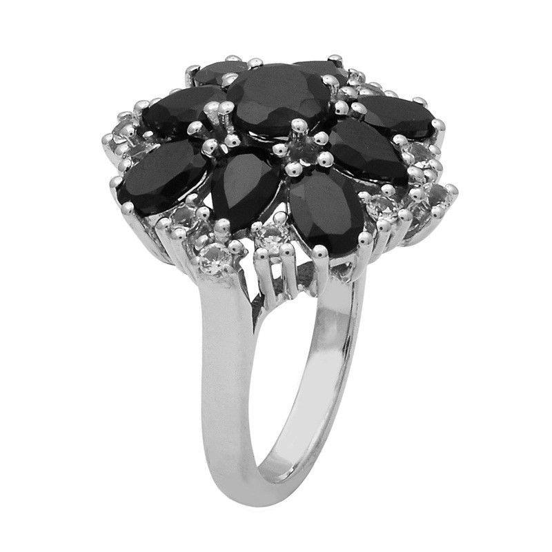 Black Spinel,White Topaz 925Sterling Silver Ring Shine Jewelry Size-8.5 SHRI1445