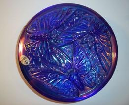 Fenton Glass Cobalt Blue Carnival Butterfly Candy Powder Box QVC Ex Verl... - $125.62
