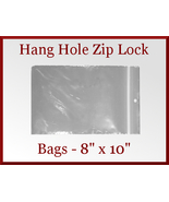 200 Zip Lock Recloseable Poly Seal Bags with Hang Hole 8 x 10 - $26.98