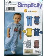 Simplicity Sewing Pattern 7200 Babies' Dress, Panties, Romper and Hat  - $11.00