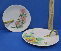 Lot 2 Hand Painted Plates w/ Handles Pink & Yellow Flowers Floral Bavair... - $12.86