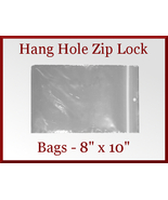 100 Zip Lock Recloseable Poly Bags with Hang Hole 8 x 10 - $15.48
