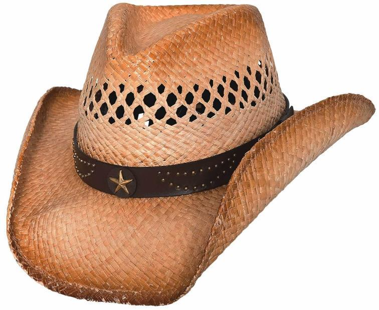 Primary image for Bullhide Alanreed Cowboy Hat Vented Raffia Straw Pinchfront Leather Band Natural