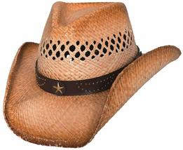 Bullhide Alanreed Cowboy Hat Vented Raffia Straw Pinchfront Leather Band... - $52.00