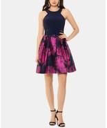 X by XSCAPE Halter-Neck Fit & Flare Dress Navy/Fuchsia Size 12 $149 - $66.49