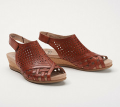 Earth Leather Perforated Wedge Sandals- Pisa Galli Terracotta 9.5 M - $59.39