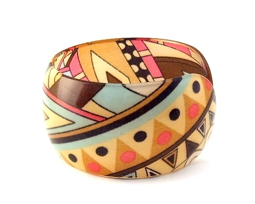 Bangle Bracelet Lucite Geometric Design Triangular Multi Color Adjustable Size
