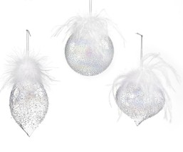 Set of 3 Iridescent Glass Christmas Ornaments w Texture, White Ostrich Feathers