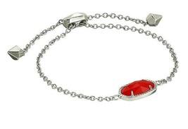 NEW! Kendra Scott Elaina Chain Bracelet in Silver Berry red w/ Dust Bag ... - $39.99