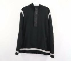 Armani Exchange Mens Large Spell Out Half Zip Hoodie Sweatshirt Black Cotton - $43.51