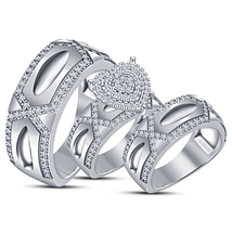 White Gold Fn Diamond Wedding Trio His And Her Bridal Band Engagement Ri... - $151.99