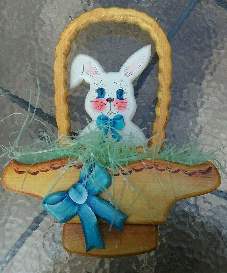 Vintage Large Wooden Easter Bunny Basket Hanging Plaque