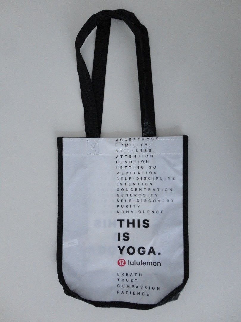Primary image for New LULULEMON White Reusable Shopping Bag This Is Yoga Small LATEST EDITION!