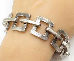 MEXICO 925 Silver - Vintage Heavy Open Square Link Chain Bracelet - B5298 - $266.88