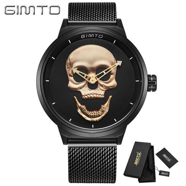 2018 Cool Punk 3D Skull Men Watch Brand GIMTO Luxury Steel Gold Black Vintage Qu image 5