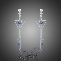 Blue Austrian Crystals Long Drop Earrings Exquisite Geometric Water Drop... - $23.62