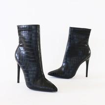 giselle-02 black crocodile toe ankle boots booties - $27.99