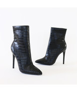 giselle-02 black crocodile toe ankle boots booties - $27.99