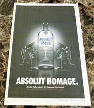 ABSOLUT HOMAGE Large-Size Newspaper Vodka Ad w/ Vancouver Film Festival ... - $9.99