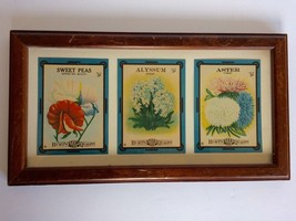 Vintage Framed 3 Burt's Seed Packaging Wall Hanging Decor 1880-1940 Auth... - $14.01