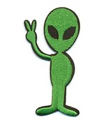 Alien With Peace Sign - UFO Funny Embroidered Iron-On Patch - 1 1/2 x 3 ... - $5.89