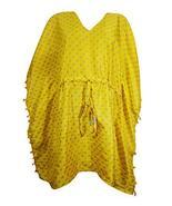 Mogul Interior Womens Yellow Caftan Dress Short Beach Kaftan Boho Cover ... - $17.92