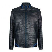 Custom Made Crocodile Skin Texture Leather Jacket Fashion Black Leather ... - $252.44