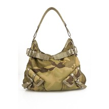 Donna Karan DKNY Army Camo Canvas Silver Leather Hobo Shoulder bag - $197.01