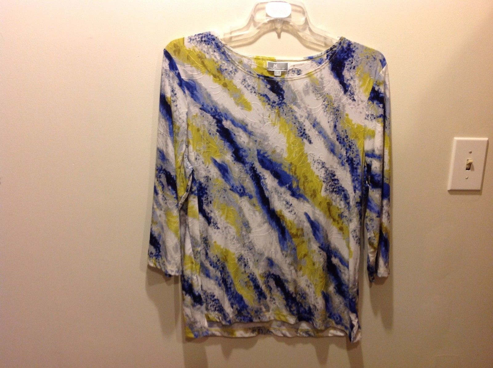 JM Collection Colorful Textured 3/4 Sleeve Blouse Sz XL