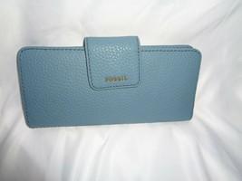 FOSSIL MADISON CLUTCH WALLET ORGANIZER BIFOLD CARD HOLDER CARIBBEAN BLUE... - $47.03