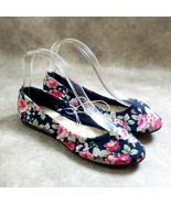 Basic Editions Womens Audrey  Size 7 Blue Slip On Floral Ballet Flats - $18.99