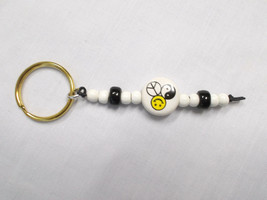 NEW PEACE SMILEY YIN YANG CERAMIC DISC BEAD & BLACK WHITE ACCENT BEADS K... - $5.99