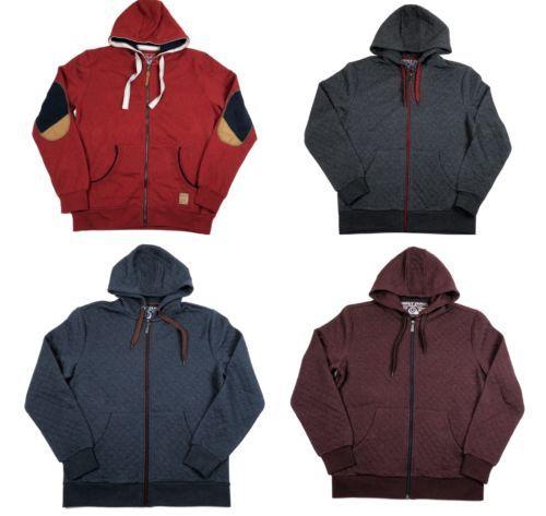 Small Men's Hoodie Quilted Full Zip Hooded Sweatshirt Point Zero Orange Label