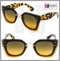 Miu Miu Reveal 04R Square Sunglasses MU04RS Brown Tortoiseshell Orange Black - $234.63